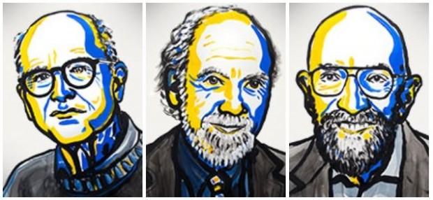 2017년 노벨물리학상 수상자 3인. 왼쪽부터 라이너 바이스, 배리 배리쉬, 킵 손. - 노벨미디어 제공